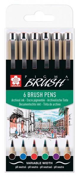 Sakura Pigma Brush-Set | 6 Stifte
