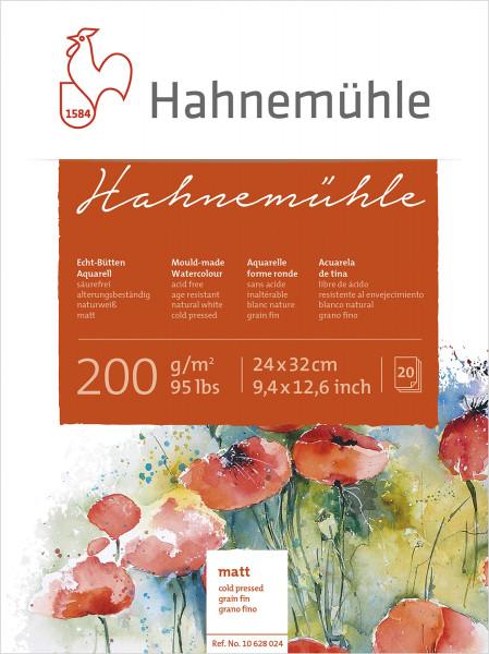 Hahnemühle Echtbütten-Aquarellblock   200 g/m², matt + rau