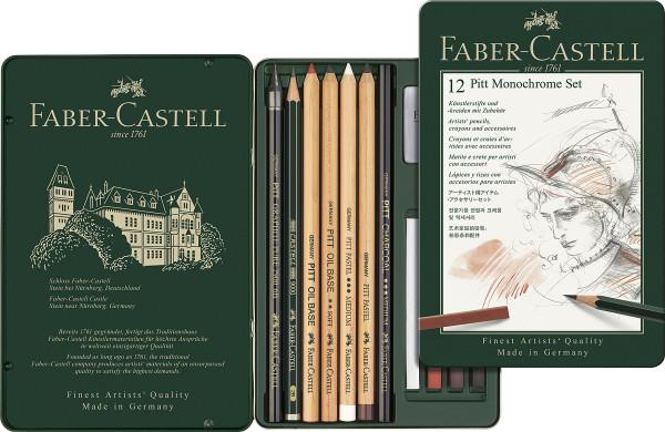 Faber-Castell Pitt Monochrome Set, 12-teilig