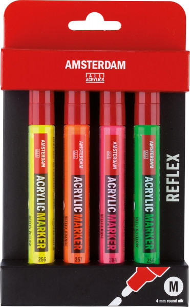 Royal Talens – Amsterdam Acrylmarker-Set, Reflexfarben