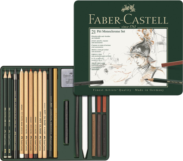 21-teiliges Set | Faber-Castell Pitt Monochrome-Set