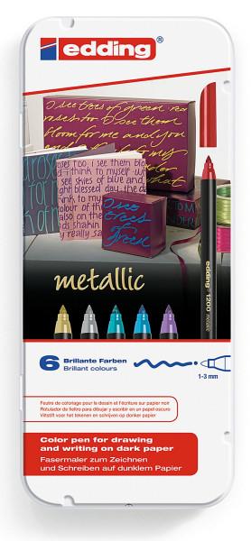 Set: 6 Stifte   Edding 1200 Metallic Fasermaler