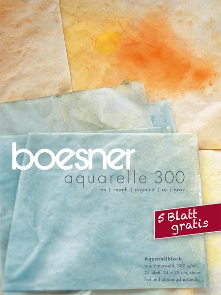 boesner – Aquarelle 300 Profi-Aquarellblock, 24 x 32 cm mit 5 Blatt gratis